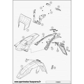 Plastiques, garde-boue, écope, plaque latérale (Husqvarna FE 350 2017)