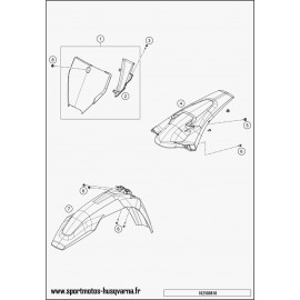 Plastiques, garde-boue, écope, plaque latérale (Husqvarna FC 450 2017)