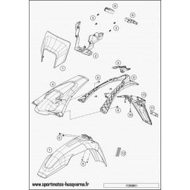Plastiques, garde-boue, écope, plaque latérale (Husqvarna FE 250 2017)