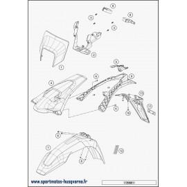 Plastiques, garde-boue, écope, plaque latérale (Husqvarna FE 250 2018)