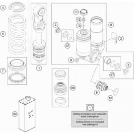 Amortisseur arrière éclaté (KTM 50 SX 2018)