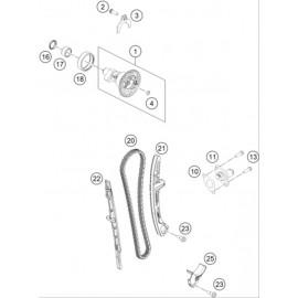 Distibution, chaine de distribution, patins, pompe à eau ( KTM 450 SX-F 2018 )