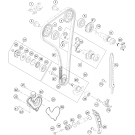Distibution, chaine de distribution, patins, pompe à eau ( Husqvarna FE 350 2016 )