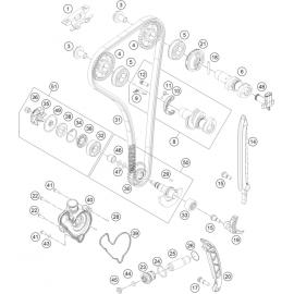 Distibution, chaine de distribution, patins, pompe à eau ( Husaberg FE 350 2014 )