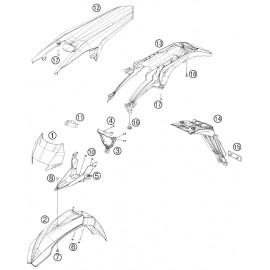 Plastiques, garde-boue, écope, plaque latérale ( Husaberg FE 450 2014 )