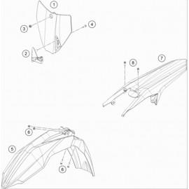 Plastiques, garde-boue, écope, plaque latérale ( Husqvarna TC 85 19/16 2014 )