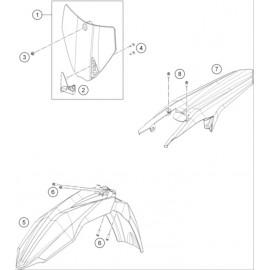Plastiques, garde-boue, écope, plaque latérale ( Husqvarna FC 350 2014 )
