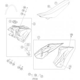 Réservoir, Selle, Cache réservoir ( Husqvarna TC 85 19/16 2015 )