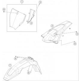 Plastiques, garde-boue, écope, plaque latérale ( Husqvarna TC 125 2016 )