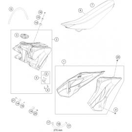 Réservoir, Selle, Cache réservoir ( Husqvarna TC 85 17/14 2017 )