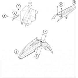 Plastiques, garde-boue, écope, plaque latérale ( Husqvarna FS 450 2015 )