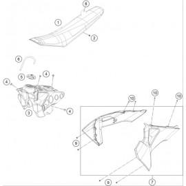 Réservoir, Selle, Cache réservoir ( Husqvarna FS 450 2020 )