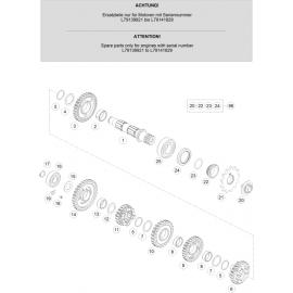 Transmission, arbre secondaire ( KTM 250 EXC-F 2020 )