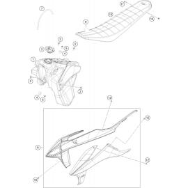 Réservoir, Selle, Cache réservoir ( KTM 250 EXC-F-Six-Days 2021 )