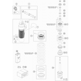 Amortisseur arrière éclaté ( KTM 350 EXC-F-Six-Days 2021 )