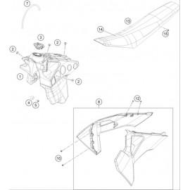 Réservoir, Selle, Cache réservoir ( Husqvarna TE 300-JARVIS 2020 )
