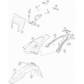 Plastiques, garde-boue, écope, plaque latérale ( Husqvarna TX 125 2018 )