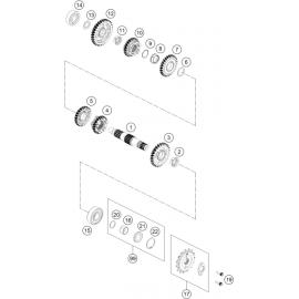 Transmission, arbre secondaire ( Husqvarna SVARTPILEN 401 2018 )