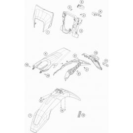 Plastiques, garde-boue, écope, plaque latérale ( Husqvarna TE 300 ROCKSTAR-EDITION 2021 )