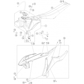 Réservoir, Selle, Cache réservoir ( KTM 65 SX 2018 )