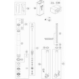 Fourche avant éclatée ( KTM 50 SX-MINI 2020 )