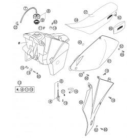 Réservoir, Selle, Cache réservoir ( KTM 525 EXC-R 2003 )