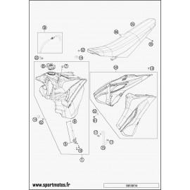 Réservoir, Selle, Cache réservoir (Husqvarna TE 250 2015)