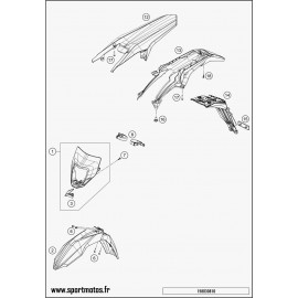 Plastiques, garde-boue, écope, plaque latérale (Husqvarna FE 350 2015)