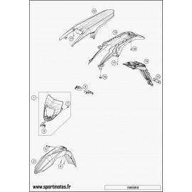 Plastiques, garde-boue, écope, plaque latérale (Husqvarna FE 250 2016)