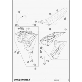 Réservoir, Selle, Cache réservoir (Husqvarna TE 125 2014)