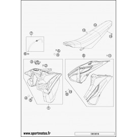 Réservoir, Selle, Cache réservoir (Husqvarna FE 501 2014)