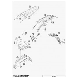 Plastiques, garde-boue, écope, plaque latérale (Husqvarna FE 501 2014)